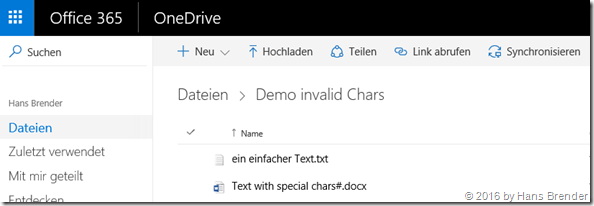 OneDrive for Business: File name with formerly known restricted characters