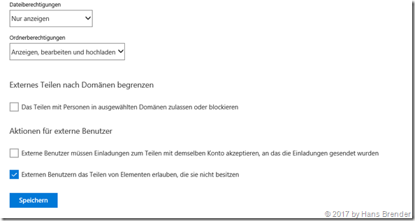 Freigabe im OneDrive Admin Center in Office 365