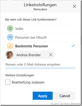 Link-Einstellungen in Office 365
