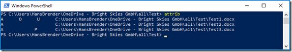 die drei möglichen Status einer Datei hier mit den jeweiligen Attributen