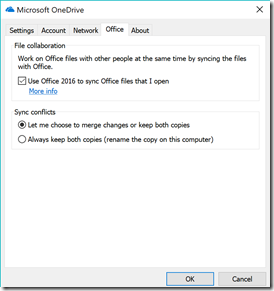 Next Generation Sync Client: Settings - Office Tab