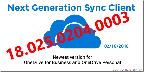 The newest version of the Next Generation Sync Client: 18.025.0204.0003