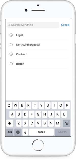 Ergebnisse bei der Sucheingabe in OneDrive  werden sofort angezeigt