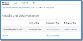 neuer Sil der OneDrive Versionshinweise