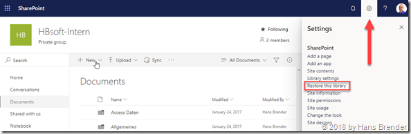 SharePoint Online : Settings