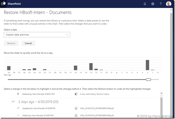 SelfServcice Portal: Restore of files  in SharePoint Online