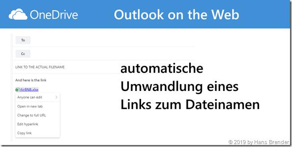automatische Umwandlung eines geteilten Links für Outlook on the Web