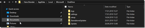 OneDrive Configuration and Data: Storage location