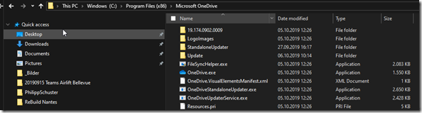 OneDrive Program: Storage location