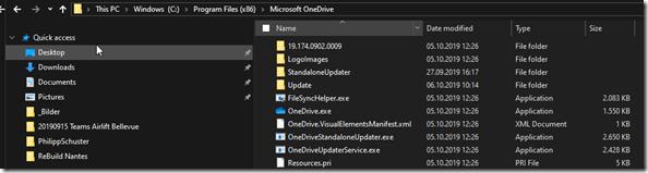 OneDrive Programm: Speicherort