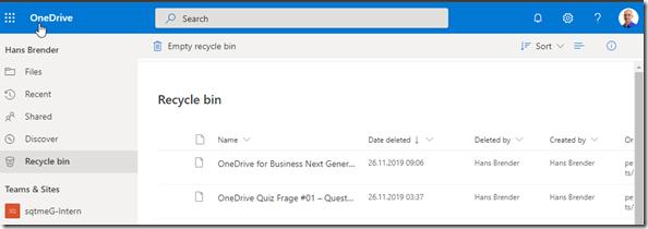 Der Papierkorb von OneDrive for Business