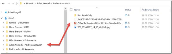 Windows File Explorer nach der Synchronisierung