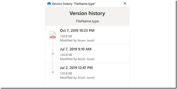 OneDrive Version history