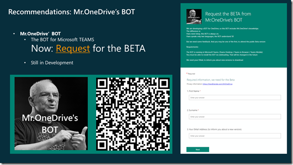 Request for the BEAT of Mr.OneDrive's BOT, running in Teams