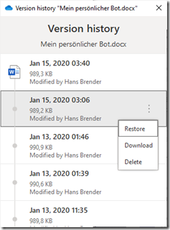 Display of the version history : Actions