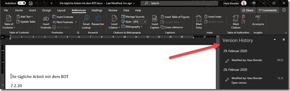 Anzeige des Versionsverlauf direkt aus Word, Excel und PowerPoint