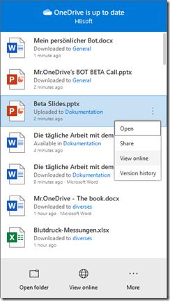 Anzeige des Versionsverlauf direkt aus der OneDrive App