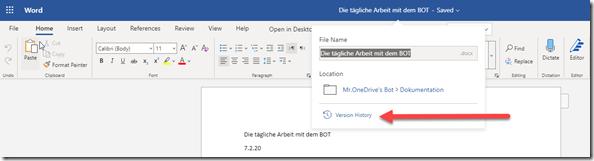 Versionsverlauf direkt aus Word, Excel und PowerPoint