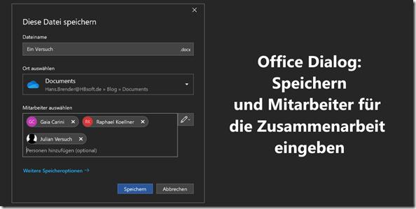 Office Dialog: speichern und Mitarbeiter für die Zusammenarbeit eingeben