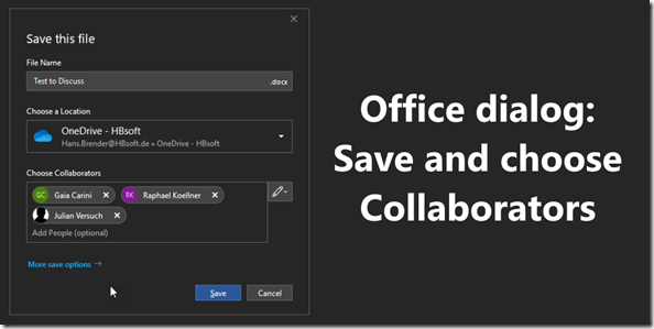 Office Dialog: Save and choose Collaborators