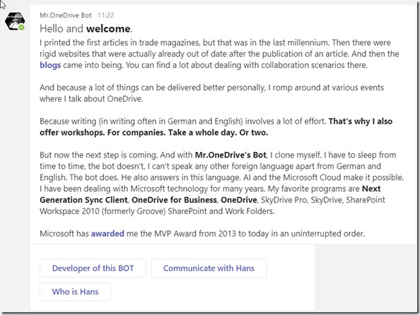 """First answer of Mr. OneDrive Bot after asking """"hello"""" in Microsoft Teams"""