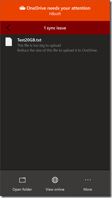 Sync-Error during Upload from 20 GB file  to OneDrive for Business