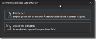 Outlook Dialog, wenn ich einen Anhang hinzufügen will