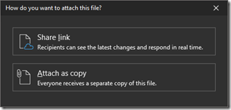 Outlook dialog, when I want to add an attachment