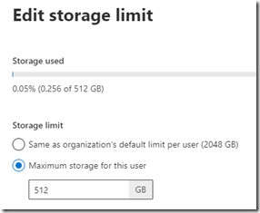 different storage space in OneDrive for Business