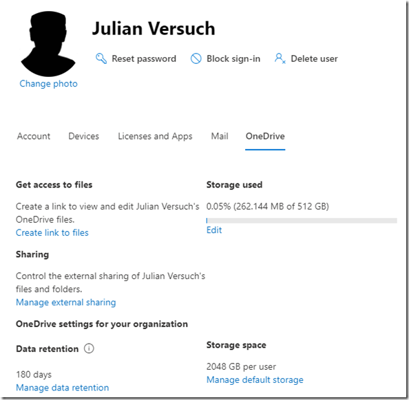 OneDrive for Business: Speicher im Admin Center