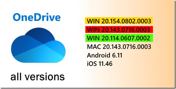 new OneDrive Insiders Version 20.154.0802.0003