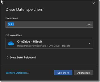 Dialog zum Speichern in OneDrive