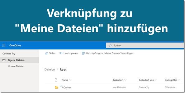 """OneDrive: Verknüpfung zu Meine Dateien"""" hinzufügen"""