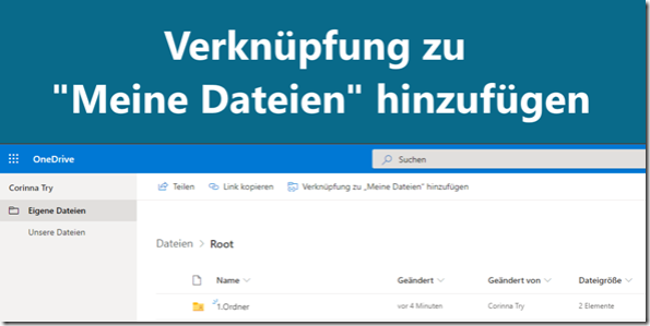 """OneDrive: Verknüpfung zu """"Meine Dateien"""" hinzufügen"""
