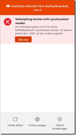 Fehlermeldung von OneDrive nach Hinzufügen einer Verknüpfung