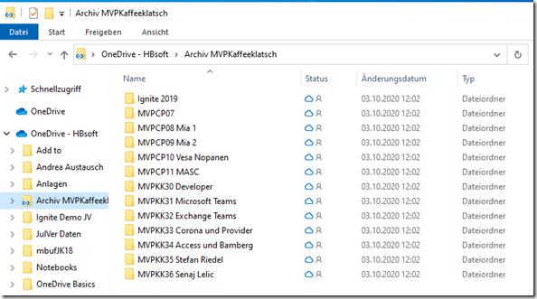 Einbindung und Symbole von Hinzugefügten Ordnern in Onedrive : hier Datei -Explorer