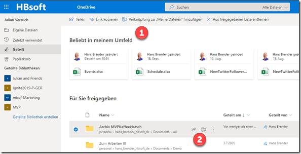 Hinzufügen zu Meine Dateien : Schritte in OneDrive