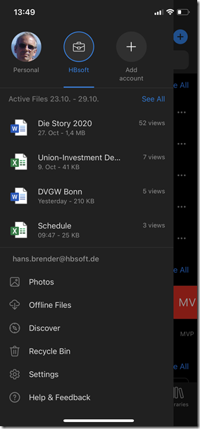 iOS  OneDrive Konten: OneDrive for Business