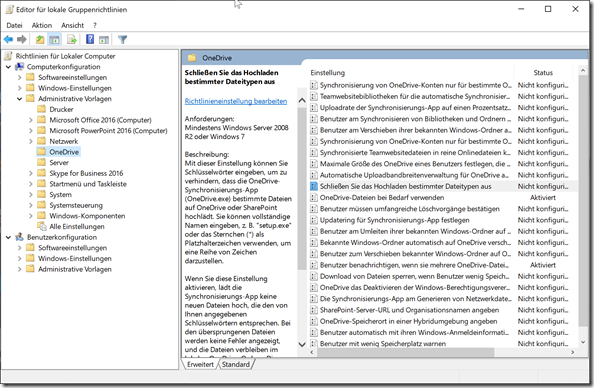 Gruppenrichtlinien Editor: OneDrive Computerrichtlinie