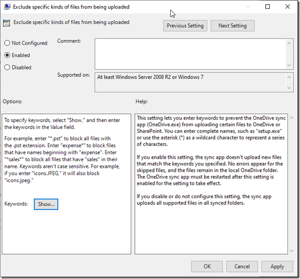 selected Group Policy: Exclude specific kinds of files from being uploaded