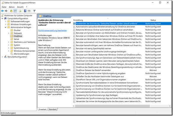 """OneDrive Gruppenrichtlinie: Ausblenden der Erinnerung """"Gelöschte Dateien werden überall entfernt"""""""