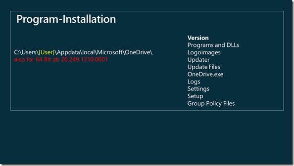 OneDrive 64 Bit Installation im Benutzer-Verzeichnis
