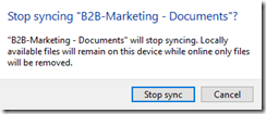 OneDrive Notice: Sync is stoped