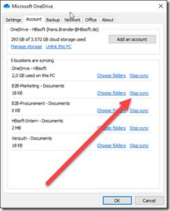 OneDrive: Account - Synchronisation einer Bibliothek beeenden