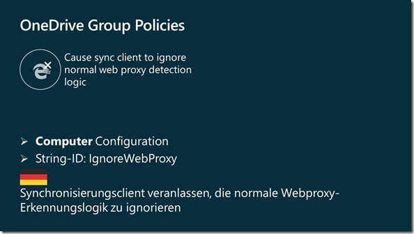 OneDrive Gruppenrichtlinie: IgnorWebProxy