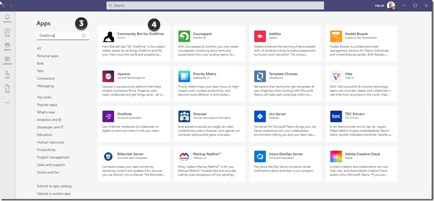 Teams Apps Store: Search for: Community Apps for OneDrive