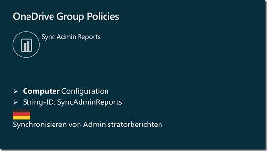 Gruppenrichtlinie: Synchronisieren von Administratorberichten