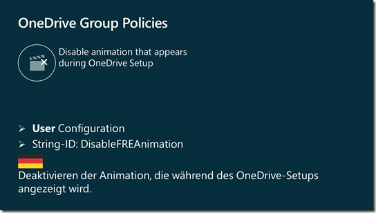 OneDrive Group Policy: Disable animation that appears during OneDrive setup