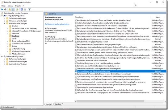 OneDrive Gruppenrichtlinie: Synchronisieren von Administratorberichten