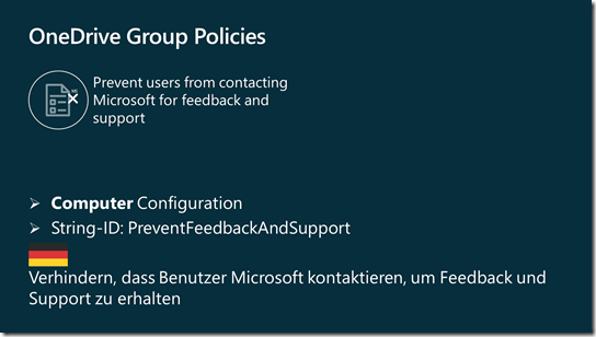 OneDrive Group Policy: Prevent users from contacting Microsoft for feedback and support